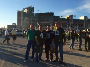 Behold, Lambeau. The foursome (L-R): Gene, Todd, Eric , Carl
